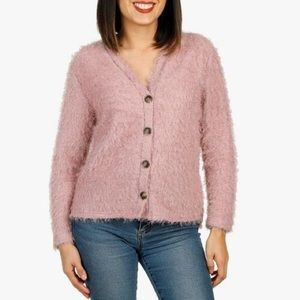 Pie in the sky mauve pink Eyelash cropped cardigan